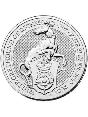 Queens Beast White Greyhound 2021 2 troy ounce zilveren munt