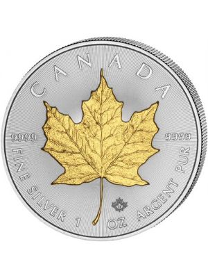 Maple Leaf 2018 vergulde 1 troy ounce zilveren munt