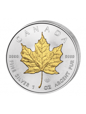 Maple Leaf 2016 vergulde 1 troy ounce zilveren munt