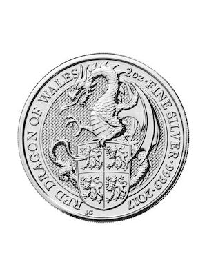Queens Beast Red Dragon 2017 2 troy ounce zilveren munt